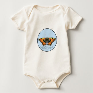 Tortoiseshell Butterfly Watercolor Painting Baby Bodysuit