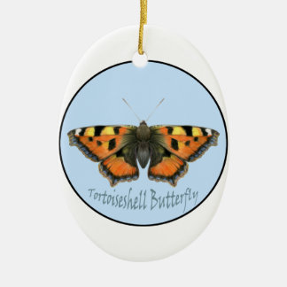Tortoiseshell Butterfly Watercolor Painting Ceramic Oval Decoration