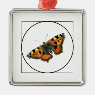 Tortoiseshell Butterfly Watercolor Painting Christmas Ornament