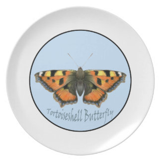 Tortoiseshell Butterfly Watercolor Painting Party Plates