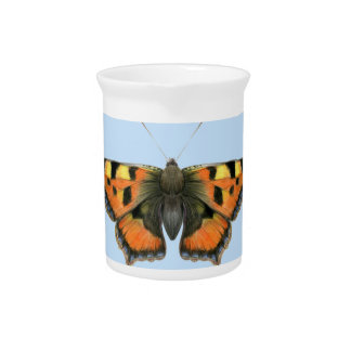 Tortoiseshell Butterfly Watercolor Painting Pitcher