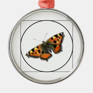 Tortoiseshell Butterfly Watercolor Painting Silver-Colored Round Decoration