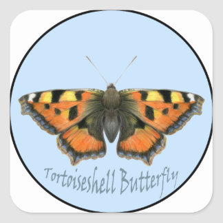 Tortoiseshell Butterfly Watercolor Painting Square Sticker