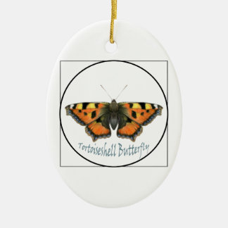 Tortoiseshell Butterfly Watercolour Painting Ceramic Oval Decoration