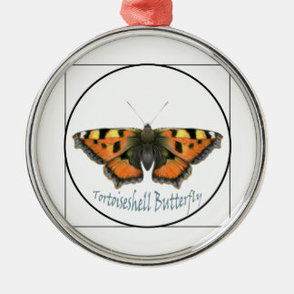 Tortoiseshell Butterfly Watercolour Painting Silver-Colored Round Decoration