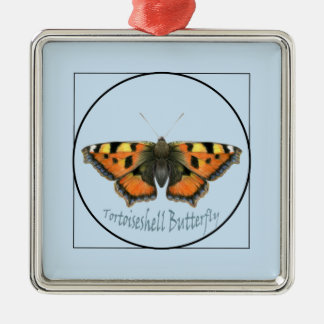 Tortoiseshell Butterfly Watercolour Painting Silver-Colored Square Decoration