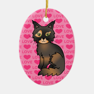Tortoiseshell Maine Coon Love Christmas Ornament