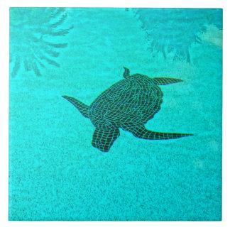 Tortuga Turtle Mosaic on Sanibel Island Florida Large Square Tile
