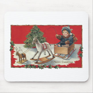 Tot Aboard Pretend Sleigh with Pretend Reindeer Mouse Pad