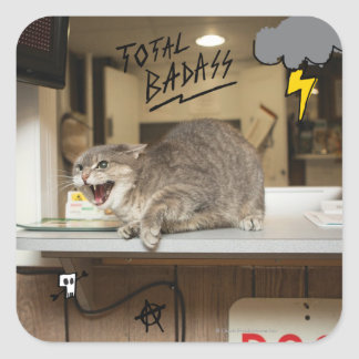 Total Badass Cat Square Sticker