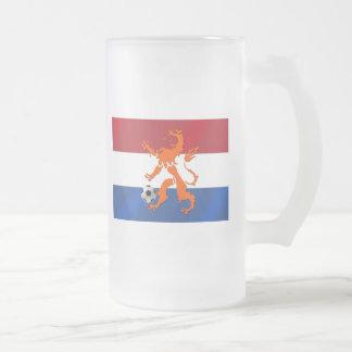 Total football soccer Oranje Dutch lion Frosted Glass Beer Mug