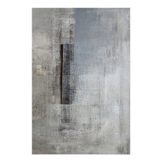 'Total Loner' Grey and Beige Abstract Art Poster