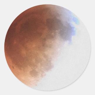 Total Lunar Eclipse (12) 1am April 15, 2014 Round Sticker