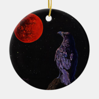 Total Lunar Eclipse Crow Raven Painting Art Christmas Ornament