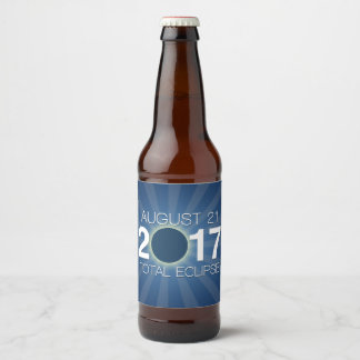 Total Solar Eclipse 2017 - Blue Design Beer Bottle Label