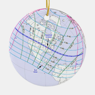 Total Solar Eclipse 2017 Global Path Christmas Ornament