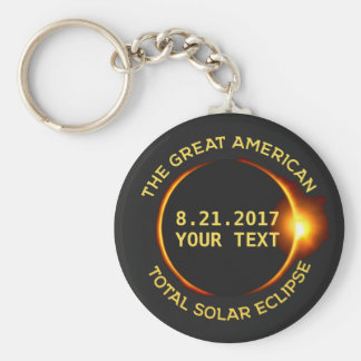 Total Solar Eclipse 8.21.2017 USA Custom Text Basic Round Button Key Ring
