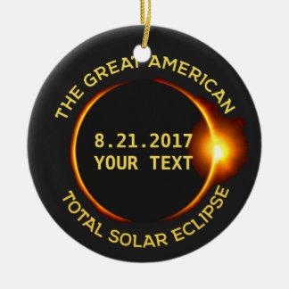 Total Solar Eclipse 8.21.2017 USA Custom Text Round Ceramic Decoration