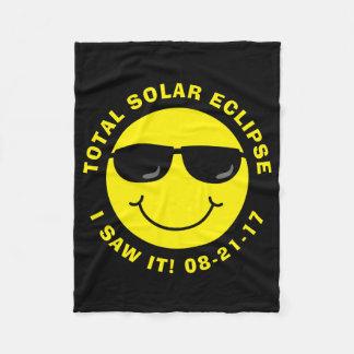 Total Solar Eclipse Cool Smiley Face Fleece Blanket
