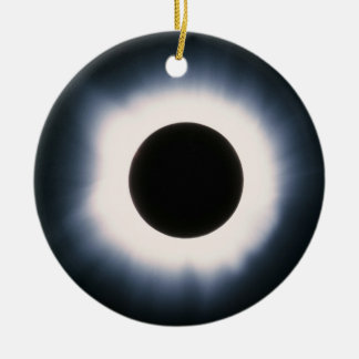 Total Solar Eclipse in Black and White Christmas Ornament