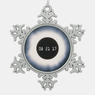Total Solar Eclipse in Black and White Snowflake Pewter Christmas Ornament
