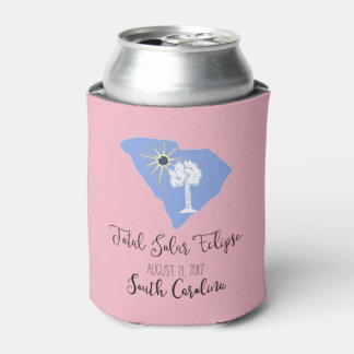 Total Solar Eclipse South Carolina Pink Can Cooler