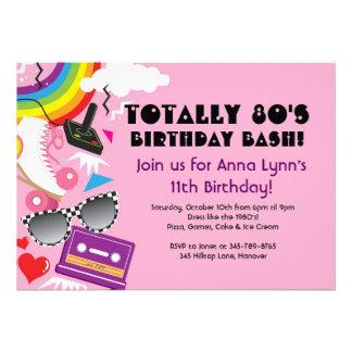 Totally 80 s theme party birthday invitations