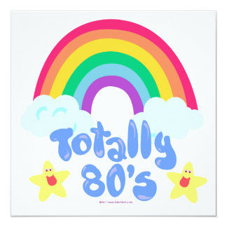 Totally 80s rainbow personalized invites