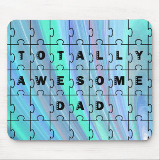 Totally Awesome Dad Puzzle Blue Mouse Pad