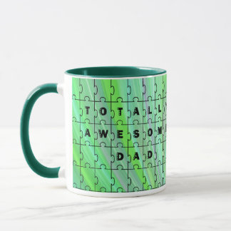 Totally Awesome Dad Puzzle Green Puzzle Mug