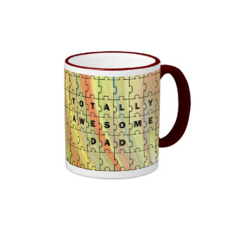 Totally Awesome Dad Puzzle Yellow/Brown Puzzle Mug