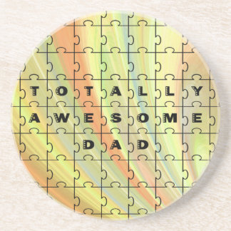 Totally Awesome Dad Yellow and Brown Coaster