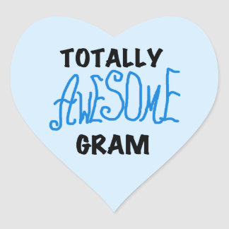 Totally Awesome Gram Blue Tshirts and Gifts Heart Sticker