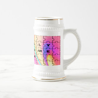 Totally Awesome Mom  Pink Swirl Puzzle Design Beer Steins