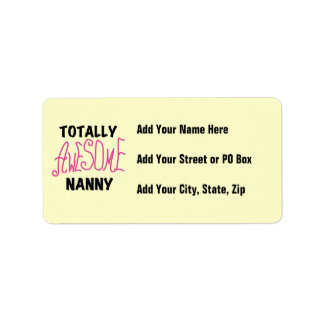 Totally Awesome Nanny Pink T-shirts and Gifts Address Label