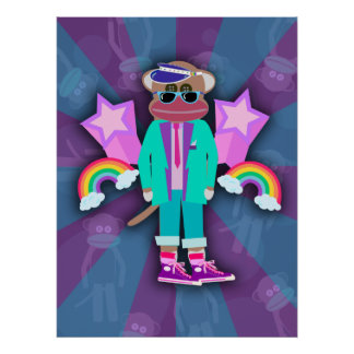 Totally Eighties Sock Monkey Poster