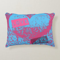 Totally Epic Retro Colours Love Heart Design Decorative Cushion