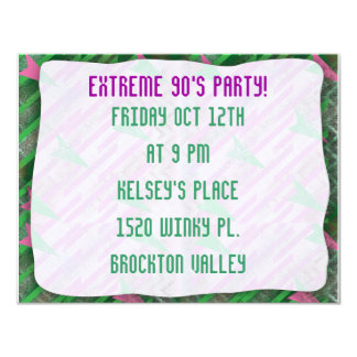 "Totally Extreme 90s Party 4.25"" X 5.5"" Invitation Card"
