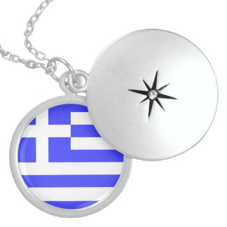 Totally Flag of Greece Sterling Silver Necklace