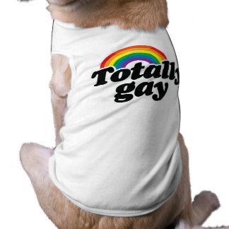 TOTALLY GAY RAINBOW - WHITE -.png Sleeveless Dog Shirt