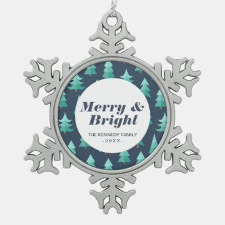 Totally Modern Blue Christmas Trees Pewter Snowflake Decoration