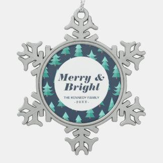 Totally Modern Blue Christmas Trees Pewter Snowflake Decoration