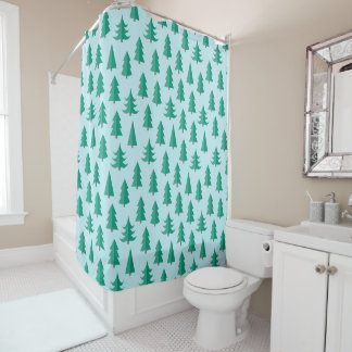 Totally Modern Christmas Trees Shower Curtain