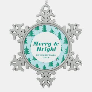 Totally Modern Christmas Trees Snowflake Pewter Christmas Ornament