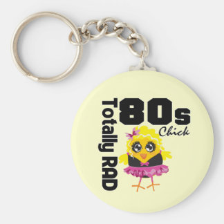 Totally RAD 80s Chick Basic Round Button Key Ring