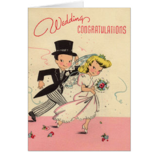Totally Retro Wedding Congratulations Card