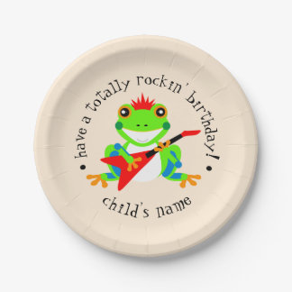 Totally Rockin' Birthday Tree Frog with Red Guitar 7 Inch Paper Plate
