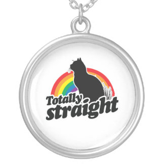 TOTALLY STRAIGHT CAT - WHITE - WHITE -.png Round Pendant Necklace
