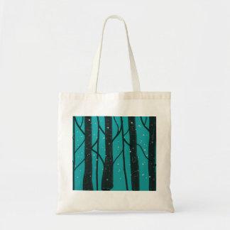 Tote Bag Black Trees Blue