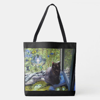 Tote Bag - Cat at Window - Fairies and Butterflies